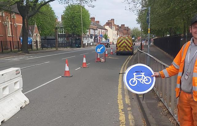 Temporary cycle lanes have already been put in place in Leicester, to help key workers keep safe