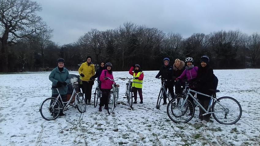 Cycle Sisters in the snow