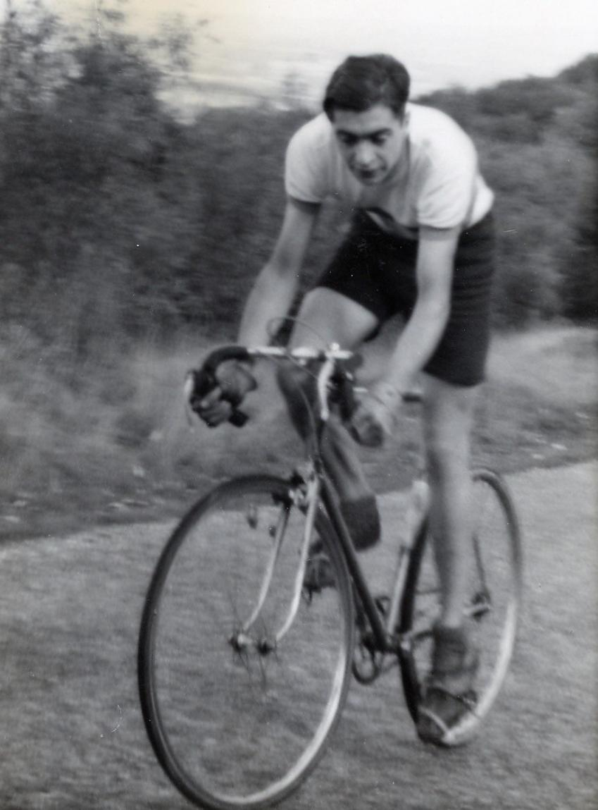 Mike Twigg on a hill climb age 19