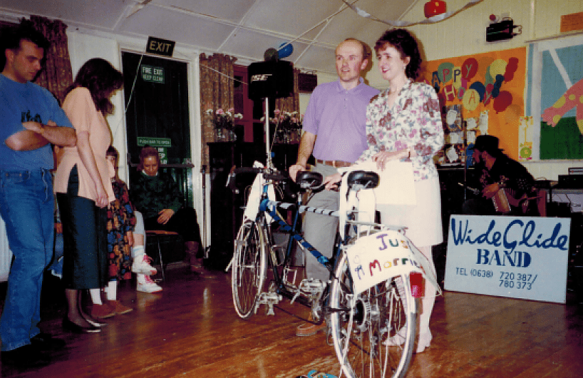 Sue and Neil with their tandem bike, a wedding present from Cambridge CTC
