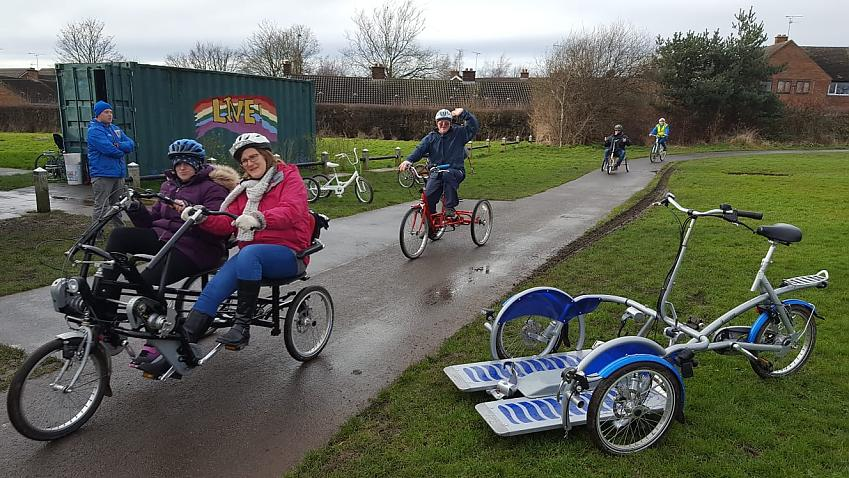 Sylvia (at the rear) with others from Live! Cheshire on their celebration ride